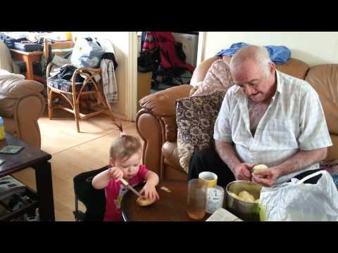 Granddad and Granddaughter peeling spuds. xxxx