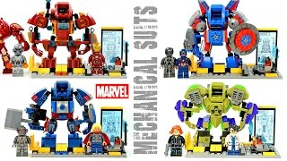 Iron Man Captain America Thor & Hulk  Bruce Banner Mechanical Suit & Laboratory Unofficial LEGO Set