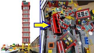 Hilarious Lego train - skyscraper crash