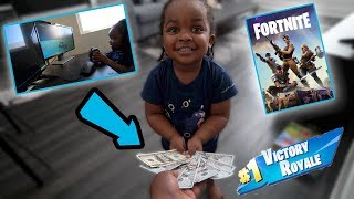 MY 3 YEAR OLD SON BET ME $1000 HE COULD WIN A FORTNITE MATCH . ( funniest video ever )