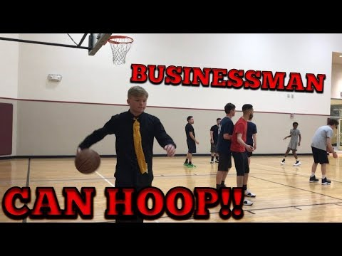Businessman plays pick up games at LA Fitness