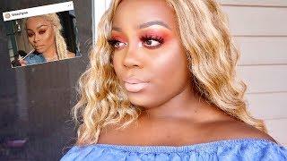 Blac Chyna Inspired Makeup Tutorial| Red Smokey Eye