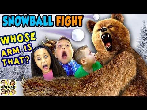 GRIZZLY BEAR ATTACK 😱 FGTEEV Family Loses Arm ☠ SNOWBALL FIGHT Gaming Battle Challenge ❄ KING ME