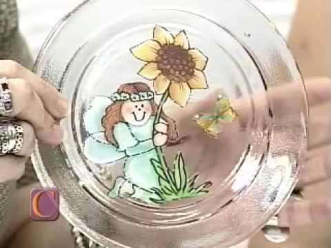 Aula de artesanato Craquelê e decupagem com guardanapo no prato de vidro