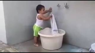 New Kids Funny Videos   Baby Washing Clothes   Whatsapp Video Latest 2016