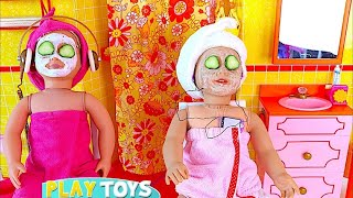 Play AG Doll day spa in doll bathroom & bedroom w/ doll bunk bed, dress up closet in baby dollhouse