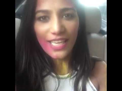 Poonam Pandey wishes happy Holi in 2017 in her style live video