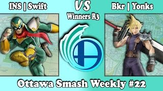 Ottawa Smash Weekly #22 INS | Swift (Captain Falcon) vs Bkr | Yonks (Cloud) Winners R3