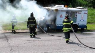 Belt Parkway Ice Cream Truck Fire FDNY Knocking It Down