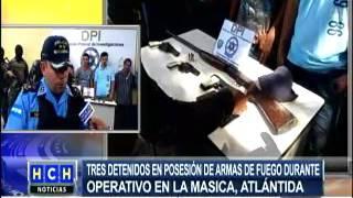 Tres detendidos tras allanamientos en La Masica, Atlántida