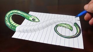 Drawing Snake Under My Paper!  3D Trick Art Optical Illusion