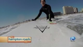 Cold water surfing in Virginia Beach.