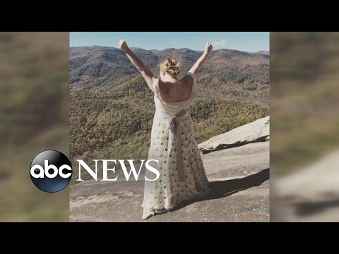 Bride hikes 3 miles in crocheted dress for mountaintop wedding