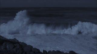 Sleep video -  soothing sounds of big ocean waves breaking at night - HD 1080P