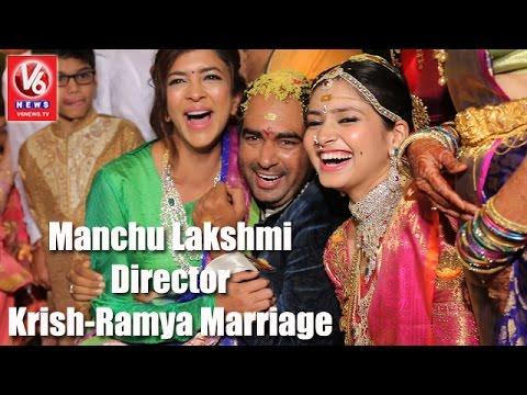 Manchu Lakshmi in Director Krish-Ramya Marriage | Krish Marriage Highlights | V6 News