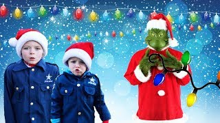 Grinch takes Christmas lights from headquarters silly fun kids video