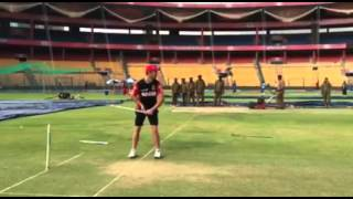 AB De Villiers Facing The RCB Pacers With The Stump