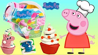 Chef PEPPA PIG Makes Cupcake Decorations From Play-doh Playset