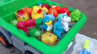 Learn Names Of Animals-Preschool Learning Bath Toys-Playing with Sand -Spraying water- Dump Truck