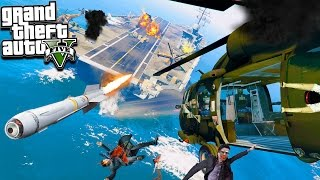 """GTA 5 ZOMBIE MOD: ATTACKING THE AIRCRAFT CARRIER BASE! """"We Find A New Weapon"""" (GTA 5 Mods)"""