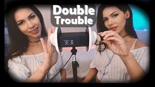 ASMR Double Trouble. (Brushing, Blowing, Unintelligible Whispers and Kisses)
