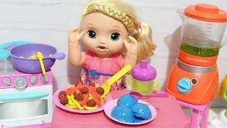 BABY ALIVE MINHA BONECA JANTA -MACARRÃO COM MOLHO ALMÔNDEGAS SORVETE E SUCO COMIDINHAS