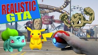 Realistic GTA - Pokemon Go Mod - In Search Of All The Pokemon! Fighting Charmander!