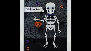 Trick or Treat Halloween Card using Clarity Brushes & Kat Scrappiness Dies & Sequins!