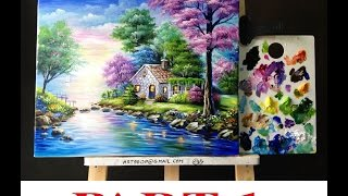 Beautiful Painting Of House On The Lake PART 1