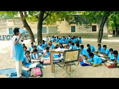 Girls learning in bad condition Village School in Indian Rajasthani Village Poshana.Girl Education