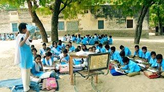 Girls learning in bad condition Village School in Indian Rajasthani Village Poshana.Girl Education