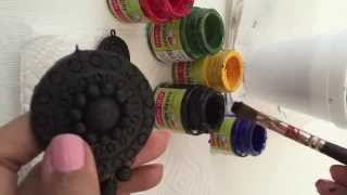 Terracotta Jewelry Tutorial: How to apply black color as base