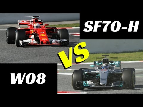 2017 Ferrari SF70 H vs Mercedes W08 Comparison on track F1 tests Montmelò