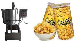 Caramel coating machine on mushroom popcorn