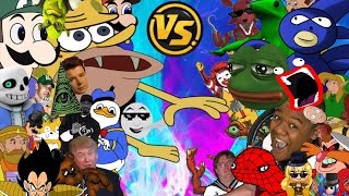 DJ Reacts to MLG AND YOUTUBE POOP MEME FREE FOR ALL!!! CARTOON FIGHT CLUB EPISODE 69!