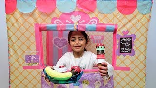 Kids Pretend Play with Ice Cream Truck Tent and Play-Doh!