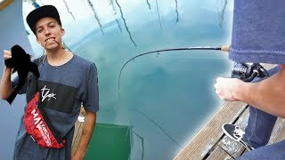 HE GOT SO LUCKY!!! *FIRST TIME FISHING*
