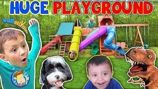 Giant Playground Surprise from DINOSAUR!  5 Slides!! FUNnel Vision Vlog