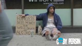 When this HOMELESS FATHER and his DAUGHTER beg for MONEY, that happens...