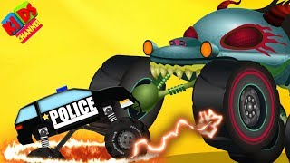 Haunted House Monster Truck vs Police Monster Truck | Halloween Videos by Kids Channel | EP68