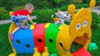 Funny toys play fun on the outdoor home playground for kids Video for children