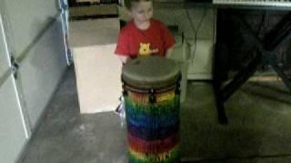 Everett plays his new Remo Tubano drum!