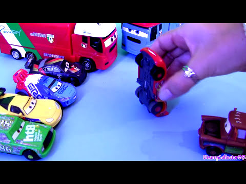 Cars 2 Stunt Racers Max Schnell Raoul Caroule with Andre Transforming Transporter Disney Pixar