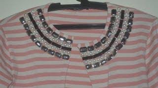 DIY: Transformando blusa em cardigan com pedraria
