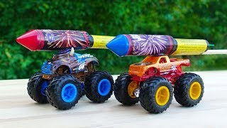 EXPERIMENT: XXL ROCKETS WITH TOY MONSTER TRUCKS