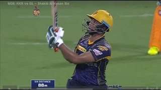 Shakib Al Hasan hits 4 sixes vs Gujarat Lions in IPL || KKR vs GL || IPL 2016