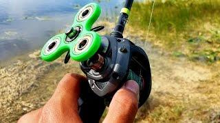 DIY Fidget Spinner Fishing Reel Catches Fish!!! (FISHING CHALLENGE)