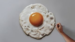 Fried Egg   Painting on canvas - How to Paint 3D Art