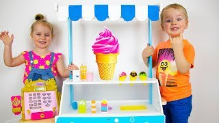 Gaby and Alex pretend play with Ice Cream Cart Toys and Baby doll. Video compilation for children