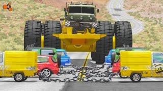 Beamng drive - Giants Machines Crushes Cars #4 (Giants Wheels crush cars)